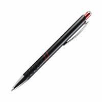 Шариковая ручка, Space, нажимной мех-м, черный матовый алюминий, отделка красный хром.