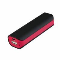 Внешний аккумулятор, Aster PB, 2000 mAh, пластик, 90х30х21 мм, черный/красный
