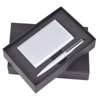 """Набор """"Mirror"""": Универсальный аккумулятор (6000мАh) и ручка, серебристый, 17,5х11х4см,металл, шт"""