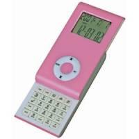 Калькулятор раздвижной с календарем и часами; розовый; 9