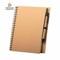 Блокнот NEYLA A5 на пружине, твердая обложка, шариковая ручка, рециклированный картон