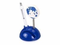 """Подставка для визиток и ручки с держателем для бумаги """"Глобус"""", синий"""