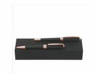 Подарочный набор: ручка шариковая, ручка-роллер. Hugo Boss, черный/розовое золото