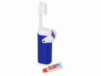 Складная зубная щетка с пастой «Clean Box», синий/белый
