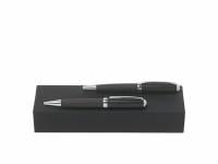 Подарочный набор: ручка шариковая, ручка-роллер. Hugo Boss, темно-серый/черный