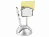 """Подставка для визиток и ручки с держателем для бумаги """"Домик"""", серебристый/белый"""