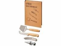 Подарочный набор для вина и сыра Reze из 4предметов, натуральный