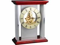 """Часы настольные """"Статус"""", серебристый/золотистый/красное дерево"""