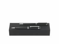 Подарочный набор: ручка шариковая, ручка-роллер. Hugo Boss, черный/серебристый