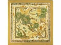 Платок горчичный с цветочным рисунком 880*885 мм в подарочном мешке