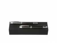Подарочный набор: ручка перьевая, ручка-роллер. Hugo Boss, черный/серебристый