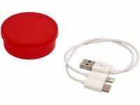 Кабель для зарядки Versa «3-в-1» в футляре, красный прозрачный