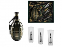 Подарочный набор для водки с фарфоровым штофом «Бей врага до последнего патрона»