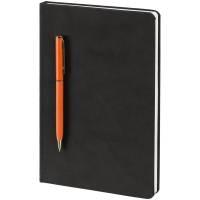 Блокнот Magnet Gold с ручкой, черно-оранжевый