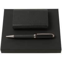 Набор Hugo Boss: визитница с аккумулятором 4000 мАч и ручка, черный