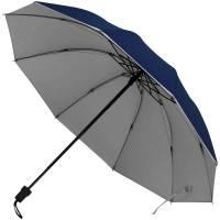 Зонт складной Silvermist, темно-синий с серебристым