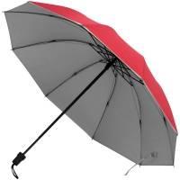 Зонт складной Silvermist, красный с серебристым