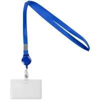 Карман для бейджа Rover с лентой и ретрактором, синий
