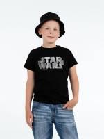 Футболка детская Star Wars Silver, черная с серебристым