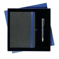 Подарочный набор Portobello/Aurora синий-серый (Ежедневник недат А5, Ручка)