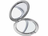 Зеркало складное, обычное и косметическое, серебристый пластик