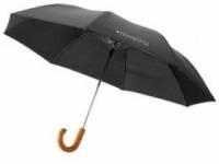 """Зонт складной полуавтоматический 23"""", 2 сложения, черный"""