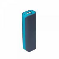 Внешний аккумулятор, Aster PB, 2000 mAh, пластик, 90х30х21 мм, серый/аква