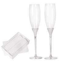 """Фужеры для шампанского """"Asti"""" (2шт), D=7см, Н=28,5см, стекло, посеребренный металл, лаковое покрыт"""