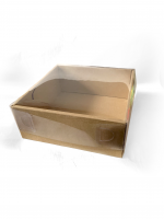Коробка картонная с прозрачной пластиковой крышкой, размер 220х220х090мм, цвет бурый