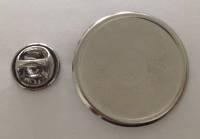 Значок мет. круглый, D=27 мм, (размер под наклейку D=23 мм), серебристый, крепление цанга