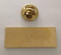 Значок мет. прямоугольный, 33х13мм, золотистый, крепление цанга
