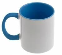 Кружка сублимационная цветная внутри + цветная ручка (светло-синий)