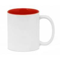 Кружка сублимационная цветная внутри + белая ручка (красная)