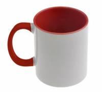 Кружка сублимационная цветная внутри + цветная ручка (красная)