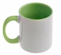 Кружка сублимационная цветная внутри + цветная ручка (светло-зеленая)