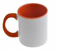 Кружка сублимационная цветная внутри + цветная ручка (оранжевая)