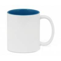 Кружка сублимационная цветная внутри + белая ручка (светло-синий)