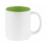 Кружка сублимационная цветная внутри + белая ручка (светло-зеленая)